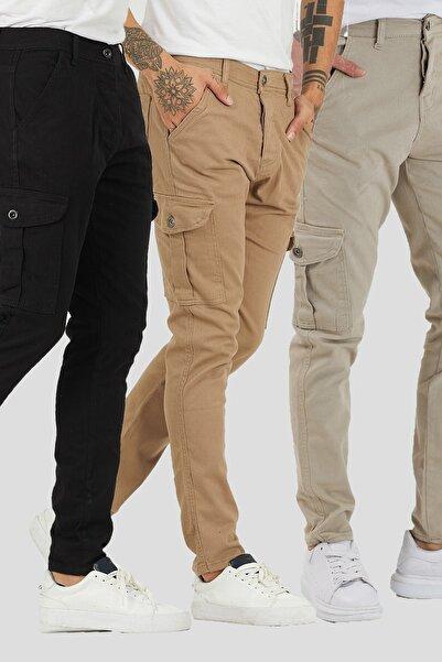 DAMGA JEANS Erkek 3 Renkli Kargo Cep Pantolon 3'lü Paket