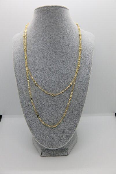 AB Shop Kadın Altın Zarif Çelik Ikili Kolye Halhal Kombin Set
