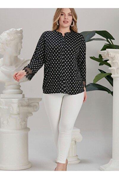sinemstyle Kadın Siyah Büyük Beden Dantel Detaylı Bluz