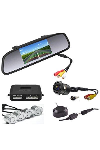 Mfk Kameralı Park Sensörü 4.3 '' Ayna Ekranlı Gri Sensör Full Set