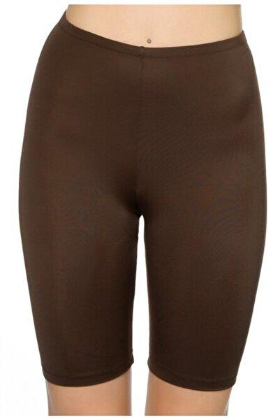 Kom Rock Tayt Tek Bikini Altı Tayt Kahverengi