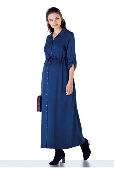 Ebru Maternity Kadın Lacivert Uzun Hamile Elbisesi 4002