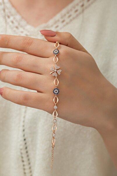 Enes Gümüş Yonca Model Nazar Boncuklu Gümüş Bayan Bilekliği