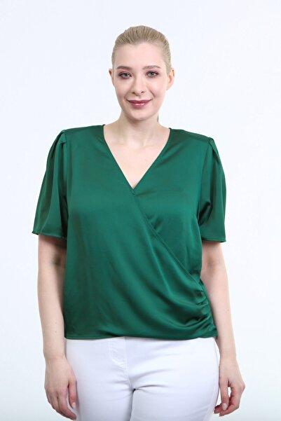 MYLİNE Kadın Yeşil Büyük Beden Vatkalı Pile Detay Anvelop Bluz