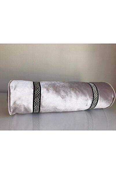Kırlent dünyası Krem Özel Tasarım 18x50cm Döşemelik Kadife Silindir Yastık Kılıfı