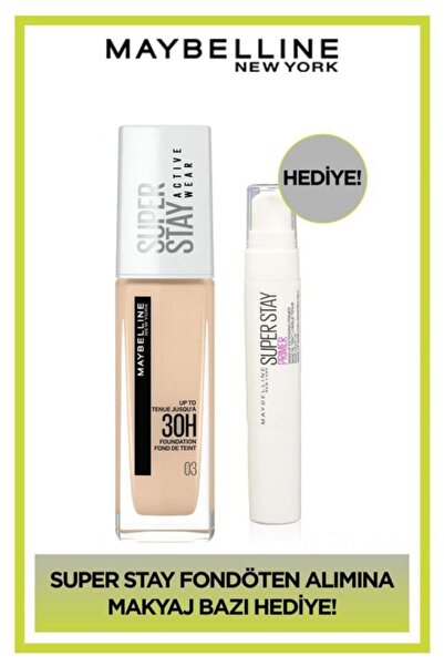 Maybelline New York Superstay Active Wear Fondöten 03 True Ivory + Superstay Makyaj Bazı Hediye!