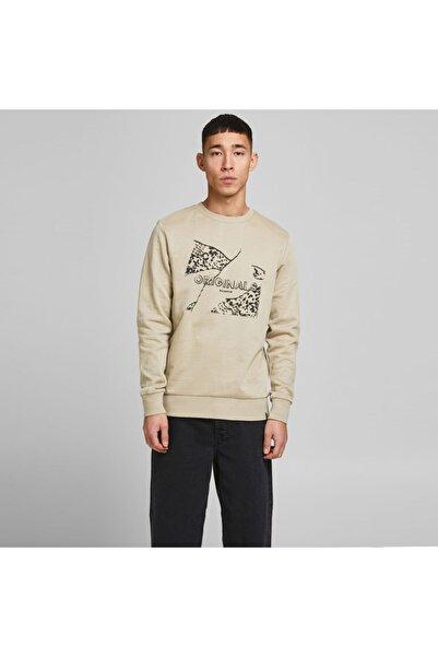 Jack & Jones Erkek Bej Baskılı Sweatshirt