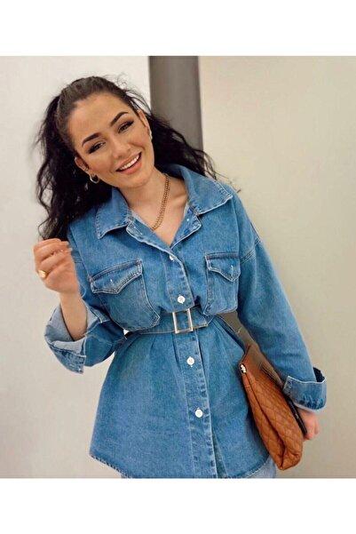 lurex moda Mavi Kemerli Kadın Kot Ceket
