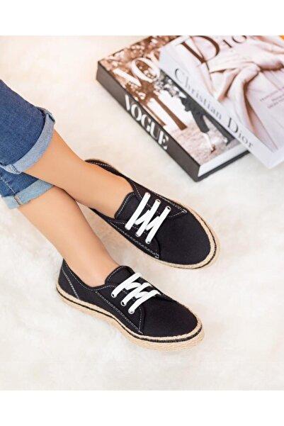 ESPARDİLE Kadın Siyah Hasır Taban Günlük Ayakkabı