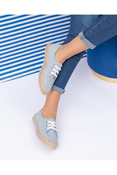 ESPARDİLE Kadın Gri Hasır Taban Günlük Ayakkabı