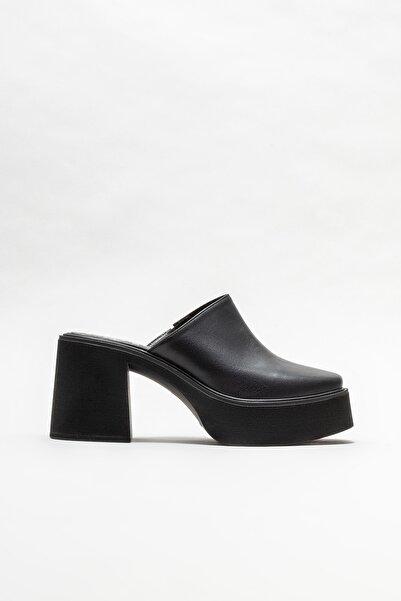 Elle Shoes Kadın Siyah Deri Topuklu Terlik