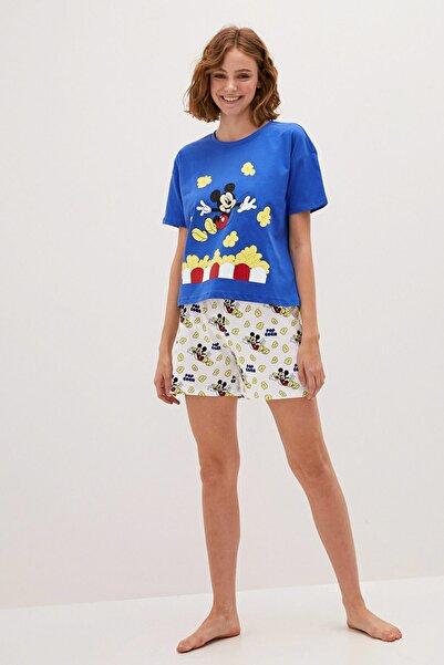 LC Waikiki Kadın Canlı Mavi Mickey Mouse Pijama Takım