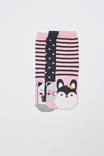 LC Waikiki Kız Çocuk Pembe Çizgili Lhk Çorap