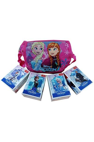 Trefl Karlar Ülkesi Frozen Lisanslı Çantalı Mini Puzzle Seti Elsa Anna Olaf Kristoff (çanta+4 Adet Puzzle)