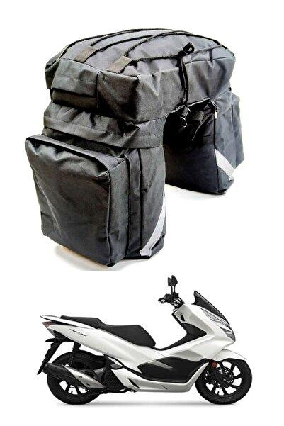 Carneil Arka Heybe Çanta 45 Litre Reflektörlü 5 Gözlü Yazlık Kışlık Motosiklet Su Geçirmez
