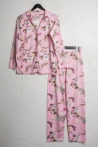 BSM Kadın Pembe Pamuklu Çiçekli Düğmeli Gömlek Pijama Takımı