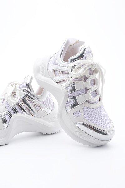 Marjin Kadın Sneaker Dolgu Topuk Spor Ayakkabı Anerabeyaz
