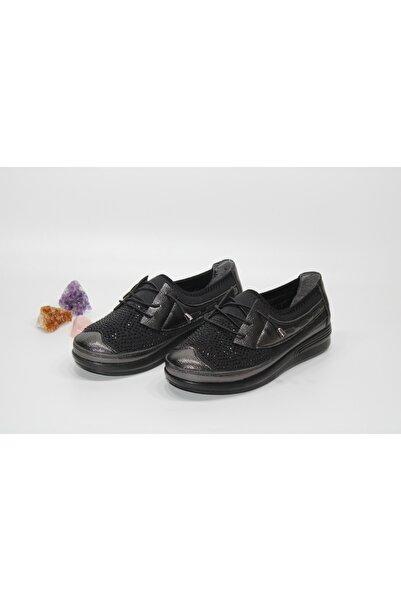 Barbour Kadın Siyah Günlük Taşlı Streç Lastik Bağcık Desenli Bağsız Yürüyüş Ayakkabısı