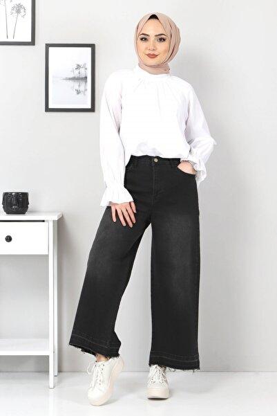 Tesettür Dünyası Kadın Siyah Bol Paça Püsküllü Kot Pantolon Tsd22050