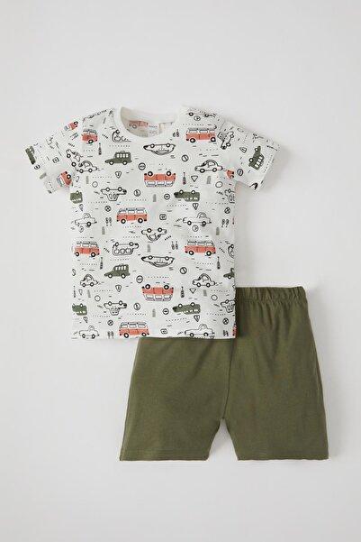 DeFacto Erkek Bebek Araba Desenlikısa Kol Pamuklu Tişört Ve Şort Takım