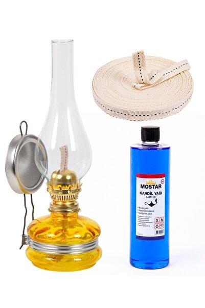 ŞEHRİMOSTARKIRK1 Klasik Gaz Lambası Sarı 400 Ml Kandil Yakıtı 1 Metre Fitil Mostar41 Gaz Lambası Seti