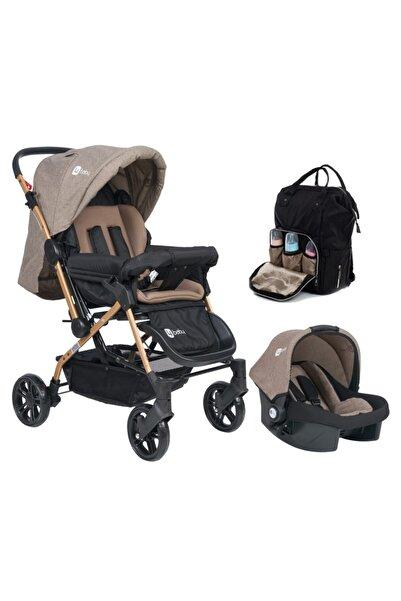 4 Baby Olimpos Bebek Arabası Antrasit Kahve Travel Puset Termal Çanta