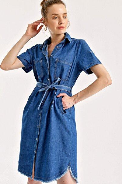 Pattaya Kadın Kuşaklı Kısa Kollu Kot Elbise P21s110-1465
