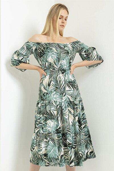 Foremia Palmiye Desen Madonna Elbise