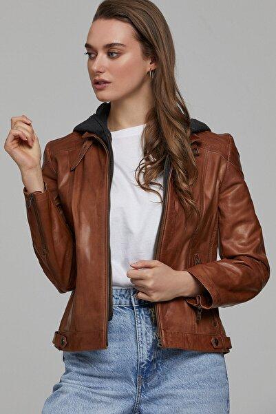 Derimod Kadın Kahverengi Soho Deri Ceket