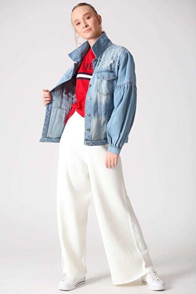 Lizbon Kadın İnci Detaylı Kot Ceket Açık Mavi D79619