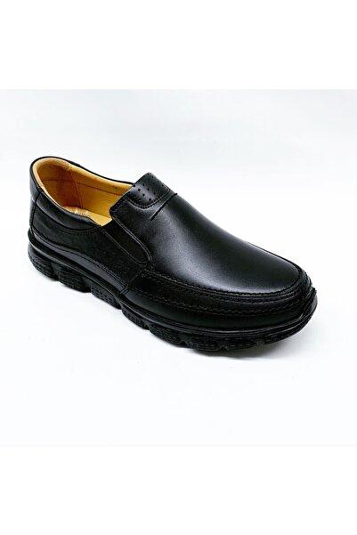 stok83 Erkek Siyah Ortopedik Hakiki Deri Ayakkabı