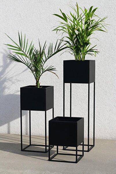 3art Metal Saksı - Dekoratif Metal 3'lü Set Ayaklı Saksılık