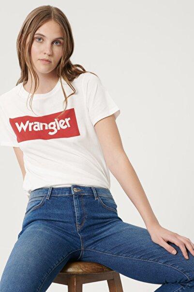 WRANGLER Kadın Beyaz Kısa Kollu %100 Pamuk Logolu Sıfır Yaka Tişört