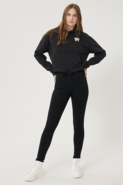 WRANGLER Kadın Siyah High Rise Skinny Fit Denim Esnek Yüksek Bel Jean Kot Pantolon