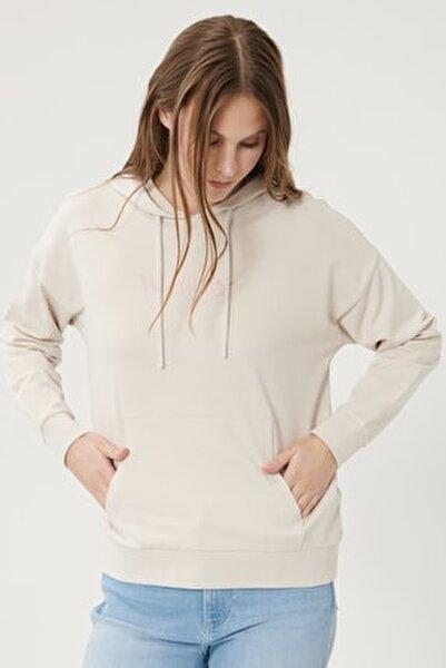 Kadın Taş Regular Fit %100 Pamuk Kapüşonlu Logolu Sweatshirt