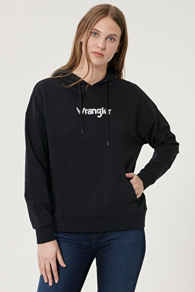 WRANGLER Kadın Siyah Regular Fit %100 Pamuk Kapüşonlu Logolu Sweatshirt