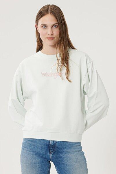 WRANGLER Kadın Açık Yeşil Regular Fit %100 Pamuk Sıfır Yaka Sweatshirt