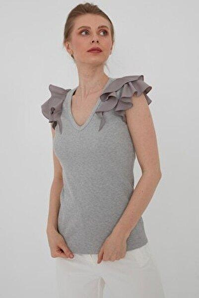 Kadın Gri V Yaka Bluz