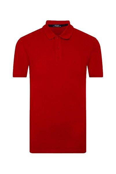 SÜVARİ Erkek Kırmızı Bol Kesim Polo Yaka Açık Tişört