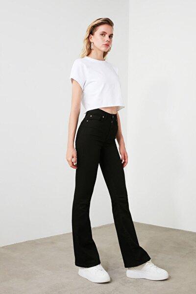Harmony Manolya Yüksek Bel İspanyol Paça Solmayan Siyah Jeans Kot Pantolon
