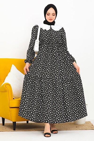 Eliza Bebe Yaka Çiçek Desen Tesettür Elbise Siyah