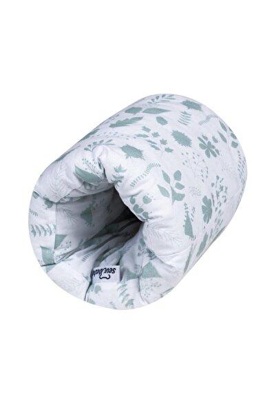 Sevi Bebe Pratik Emzirme Yastığı Yeşil Renk Beyaz Desen Yaprak Art-208