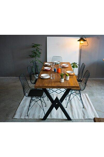 MaderArt Masif Ahşap Eskitme Yemek Masası-80x120- 6 Kişilik