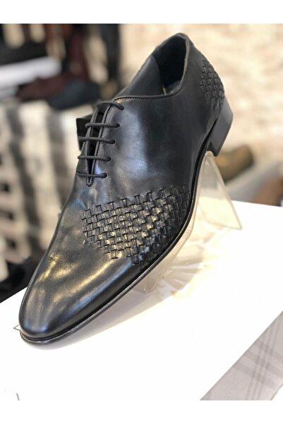Oscar Erkek Siyah Hakiki Kösele Örme Ayakkabı