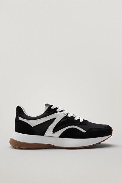 Massimo Dutti Kadın Kontrast Siyah Deri Spor Ayakkabı 11346750