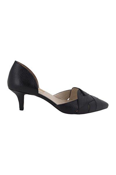 Hobby Kadın Siyah Deri Topuklu Stiletto Ayakkabı 152