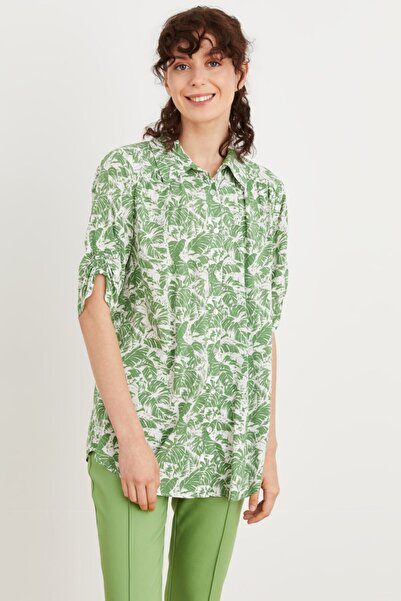 Love My Body Kadın Yeşil Büzgü Detaylı Desenli Tunik