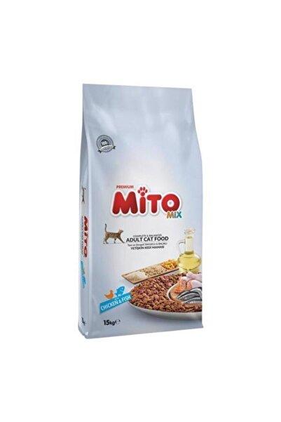 Mito Mix Adult Cat Tavuklu Ve Balıklı Renkli Taneli Yetişkin Kedi Maması - 15 kg