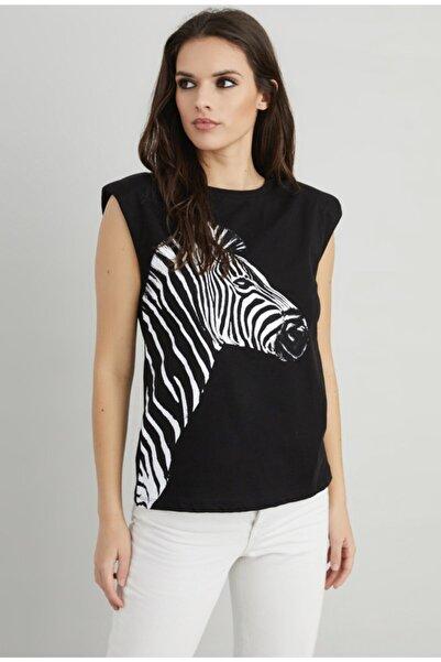 CHERLECK Kadın Siyah Zebra Desenli Vatkalı T-Shirt