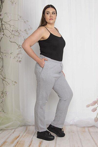 Şans Kadın Gri İçi Şardonlu Kumaş  Cepli Bel Kısmı Lastikli Spor Pantolon 65N23802